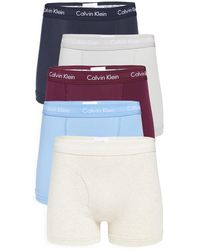 Calvin Klein Cotton Stretch 5 Pack Low Rise Trunks - Blue