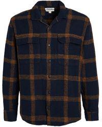Madewell Camp Collar Plaid Overshirt - Blue