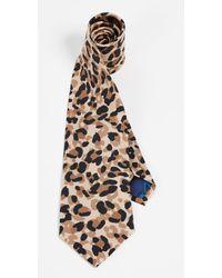 Paul Smith Leopard Print Narrow Tie - Multicolor