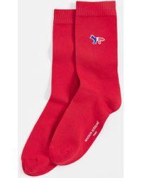 4672396d52b1 Maison Kitsuné Black Fox Logo Socks in Black for Men - Lyst