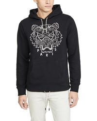 KENZO Blanket-stitch Tiger Cotton Hoodie - Black