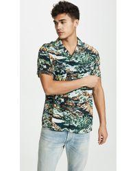 J.Crew Short-sleeve Printed Rayon Camp-collar Shirt - Green