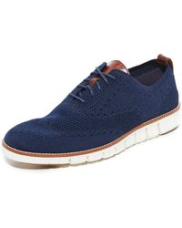 Cole Haan Zerogrand Feather Knit Oxfords - Blue