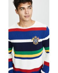 Polo Ralph Lauren Logo-embroidered Striped Cotton Jumper - Blue