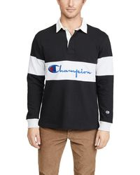 Champion Big Scriped Long Sleeve Polo Shirt - Black