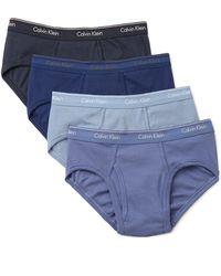 Calvin Klein 4 Pack Cotton Classic Low Rise Hip Briefs - Blue