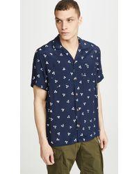 J.Crew Wallace & Barnes Camp Collar Shirt - Blue