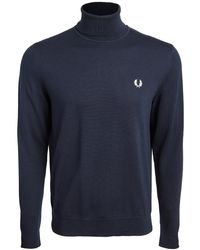 Fred Perry Roll Neck Jumper - Blue