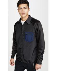 COACH Colorblock Satin Button Down Shirt - Black