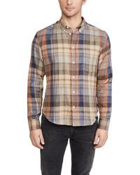 Billy Reid Kirby Plaid Button Down Shirt - Blue