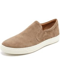 Vince - Ace Perforated Suede Slip On Sneakers - Lyst