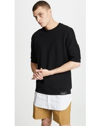 3.1 Phillip Lim - Short Sleeve Sweatshirt With Poplin Shirttail - Lyst