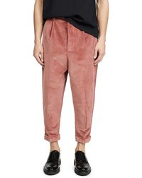 AMI Oversized Carrot Fit Trousers - Pink