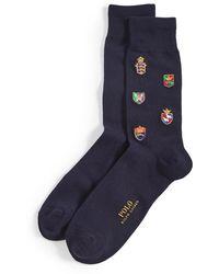 Polo Ralph Lauren Allover Crest Embroidery Socks - Blue