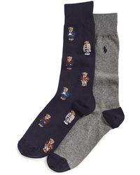Polo Ralph Lauren Preppy Bear Quad Socks - Blue