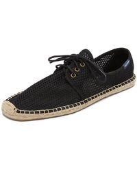 Soludos Mesh Derby Lace Up Espadrilles - Black