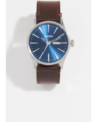 Nixon The Sentry Leather Watch - Blue