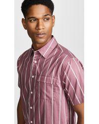 Saturdays NYC - Nico Sense Short Sleeve Stripe Shirt - Lyst
