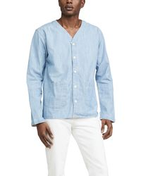 Corridor NYC Washed Chambray Baseball Shirt - Blue