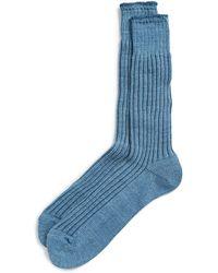 Anonymous Ism Indigo Rib Crew Socks - Blue