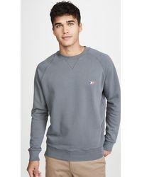 Maison Kitsuné - Long Sleeve Sweatshirt With Tricolor Fox Patch - Lyst