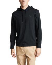 Polo Ralph Lauren Long Sleeve Hooded Tee Shirt - Black