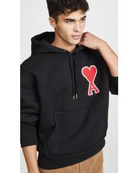 AMI Big Patch Pullover Hoodie - Black