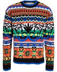 Moschino Fantasy Fair Isle Crew Neck Sweater - Blue