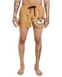 Moschino Bear Face Swim Shorts - Brown
