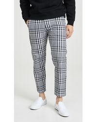Obey Straggler Plaid Cropped Pants - Black