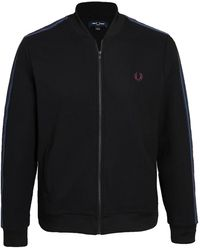 Fred Perry Taped Bomber Neck Track Jacket - Black