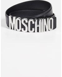 4d238a2f23 Moschino - Silver Logo Buckle Belt - Lyst