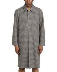 De Bonne Facture Italian Wool Houndstooth Long Mac Coat - Multicolour