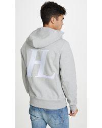 Helmut Lang Compact Brushed Logo Hoodie - Gray