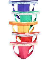 Calvin Klein Pride Edit Cotton Stretch 5 Pack Jock Straps - Pink