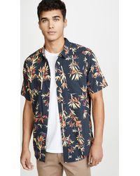RVCA Bamboozled Short Sleeve Button-up Shirt - Blue