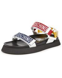 Moschino Men's Multicolour Logo Strap Sandals