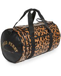 Fred Perry Leopard Print Barrel Bag - Black