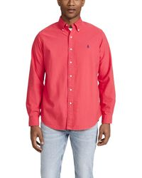 Polo Ralph Lauren Slim-fit Button-down Collar Garment-dyed Cotton Oxford Shirt - Red