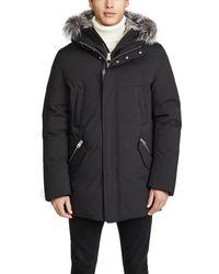 Mackage Down Coat With Removable Hooded Bib & Silverfox Fur - Black