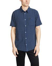 RVCA Short Sleeve Gauze Dot Shirt - Blue