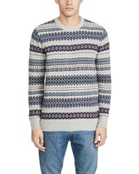 Barbour Long Sleeve Case Fair Isle Crew Neck Jumper - Blue