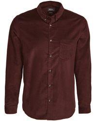 A.P.C. Serge Corduroy Button Down Shirt - Purple