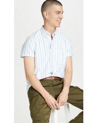 J.Crew Short Sleeve Pima Stretch Oxford Striped Shirt - Multicolour