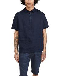 Vince Linen Polo Shirt - Blue
