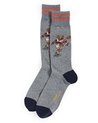 Polo Ralph Lauren Rugby Kicker Bear Socks - Gray