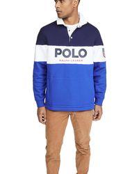 Polo Ralph Lauren Fleece Logo Rugby Shirt - Blue