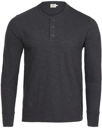 Faherty Slub Cotton Henley Shirt - Grey