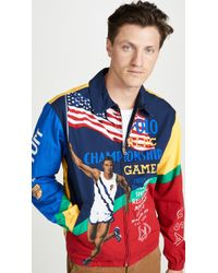 Polo Ralph Lauren Chariots Poster Print Track Jacket - Blue