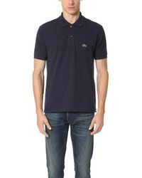 Lacoste Short Sleeve L.12.12 Pique Polo Shirt - Blue
